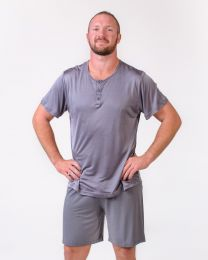 Men's Silk Henley PJ Top