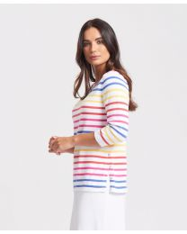 Optimum Cotton Multi Stripe Button Split Top