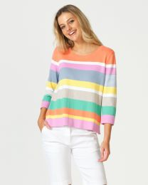 Optimum Cotton Multi Stripe Top