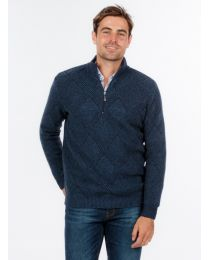 Native World Possum Merino Textured Half Zip Sweater