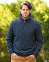 Noble Wilde Possum Merino Kepler Zip Neck Sweater