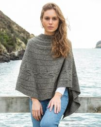 Noble Wilde Possum Merino 2 Way Cable Poncho