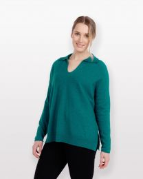 Native World Possum Merino Polo Collar Sweater