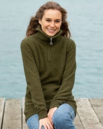 Noble Wilde Women's Possum Merino Half Zip Sweater