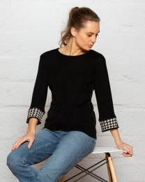 Bay Road Merino Houndstooth Cuff Top