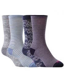 Merino Floral Stripe Socks 2 Pack