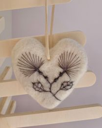 Felt Pohutukawa Heart Decoration Natural